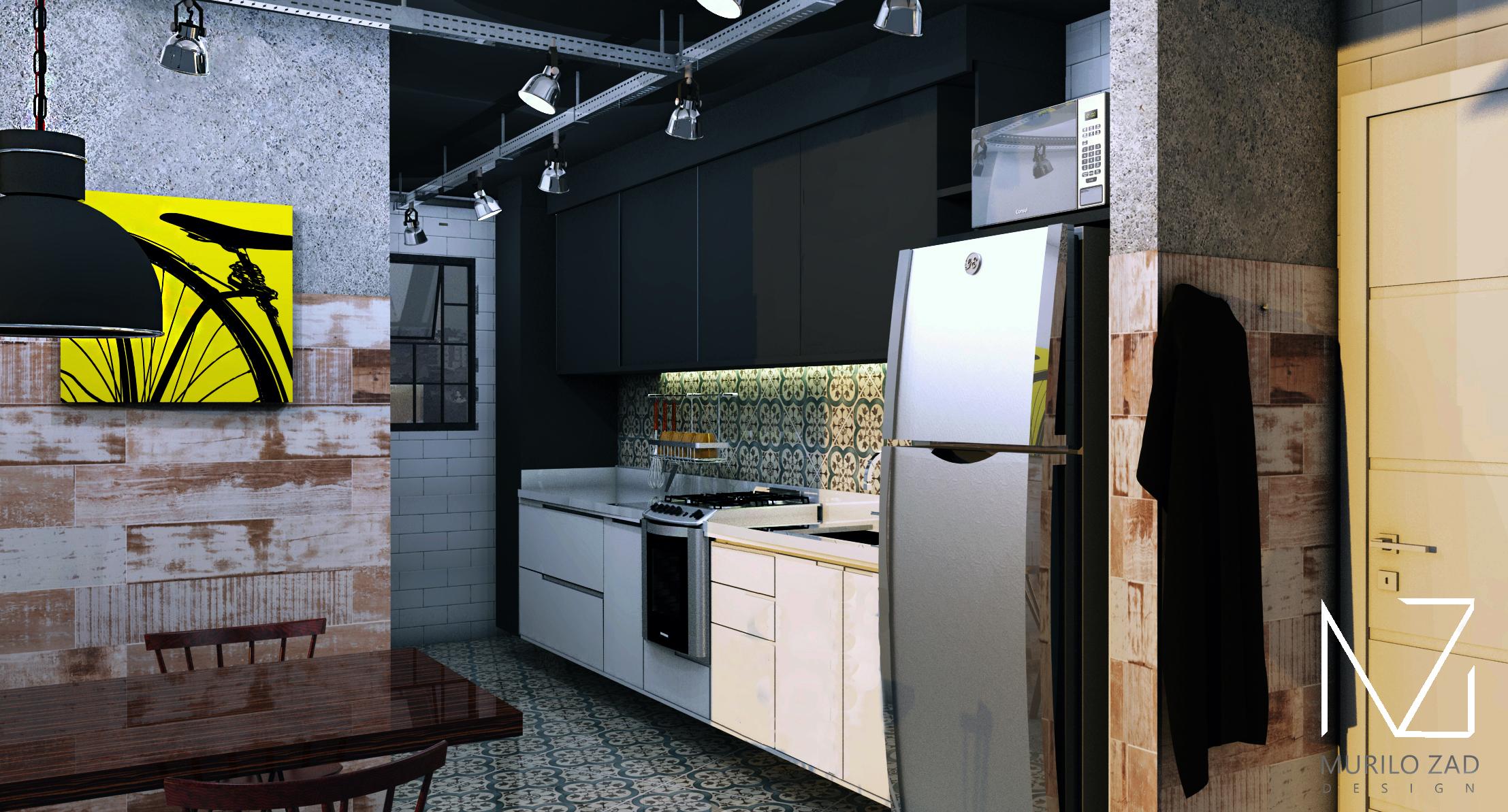Cozinha Industrial Preto Com Branco Ladrilhos Hidraulicos Designer