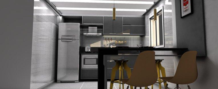 Designer de interiores em Curitiba - Projeto de cozinha moderna, cinza. Designer de interiores em Curitiba - Murilo Zadulski - Cozinha cinza, cozinha moderna, modelo de cozinha moderna