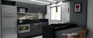 Projeto de cozinha moderna, cinza. Designer de interiores em Curitiba - Murilo Zadulski