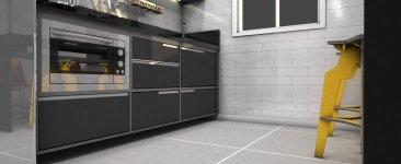 Projeto de cozinha moderna, cinza. Designer de interiores em Curitiba - Murilo Zadulski - Ideias de cozinha modernas, cozinhas planejadas, cozinha cinza