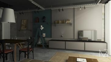 Sala de estar no estilo Industrial