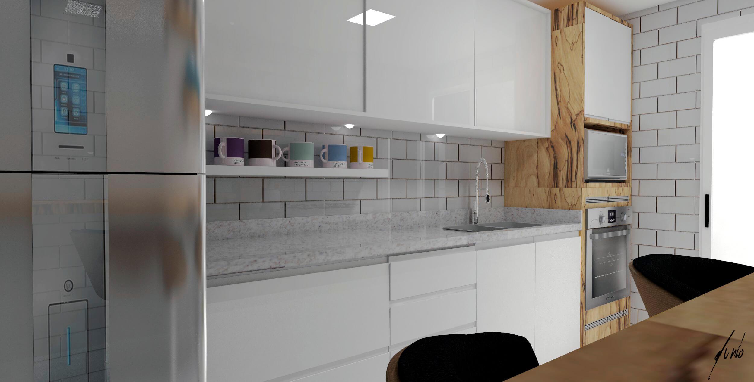 #674E38 Cozinha clean vidros brancos porcelanato liquido madeirados projeto  2500x1269 px Projetos De Cozinhas Com Silestone #479 imagens