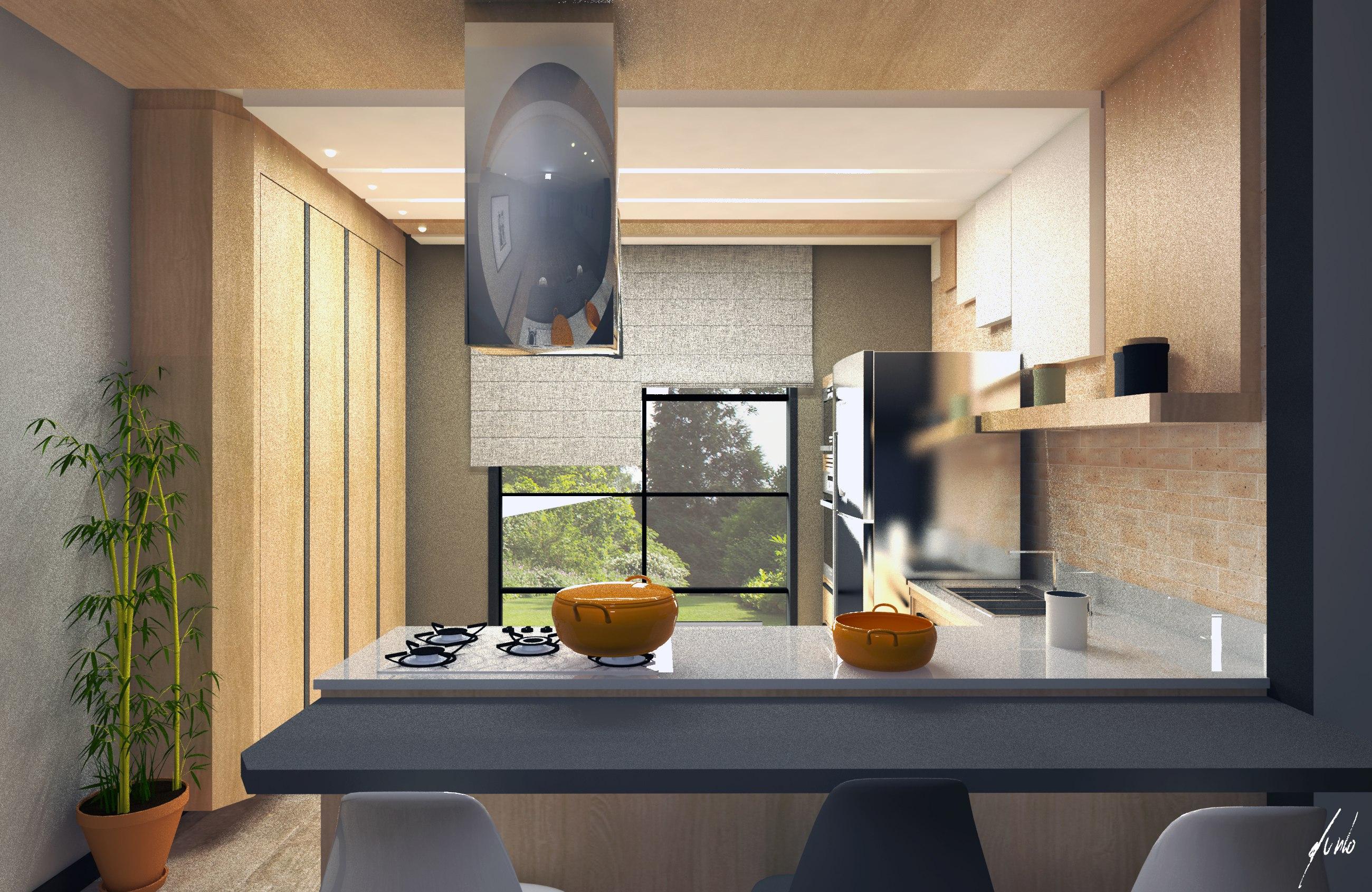Design de interiores quanto custa um projeto?-Cozinha moderna, minimalista, com ilha, em cinza e madeirados de tons quentes - Projeto de design por Murilo Zadulski - Designer de interiores em curitiba - img0105