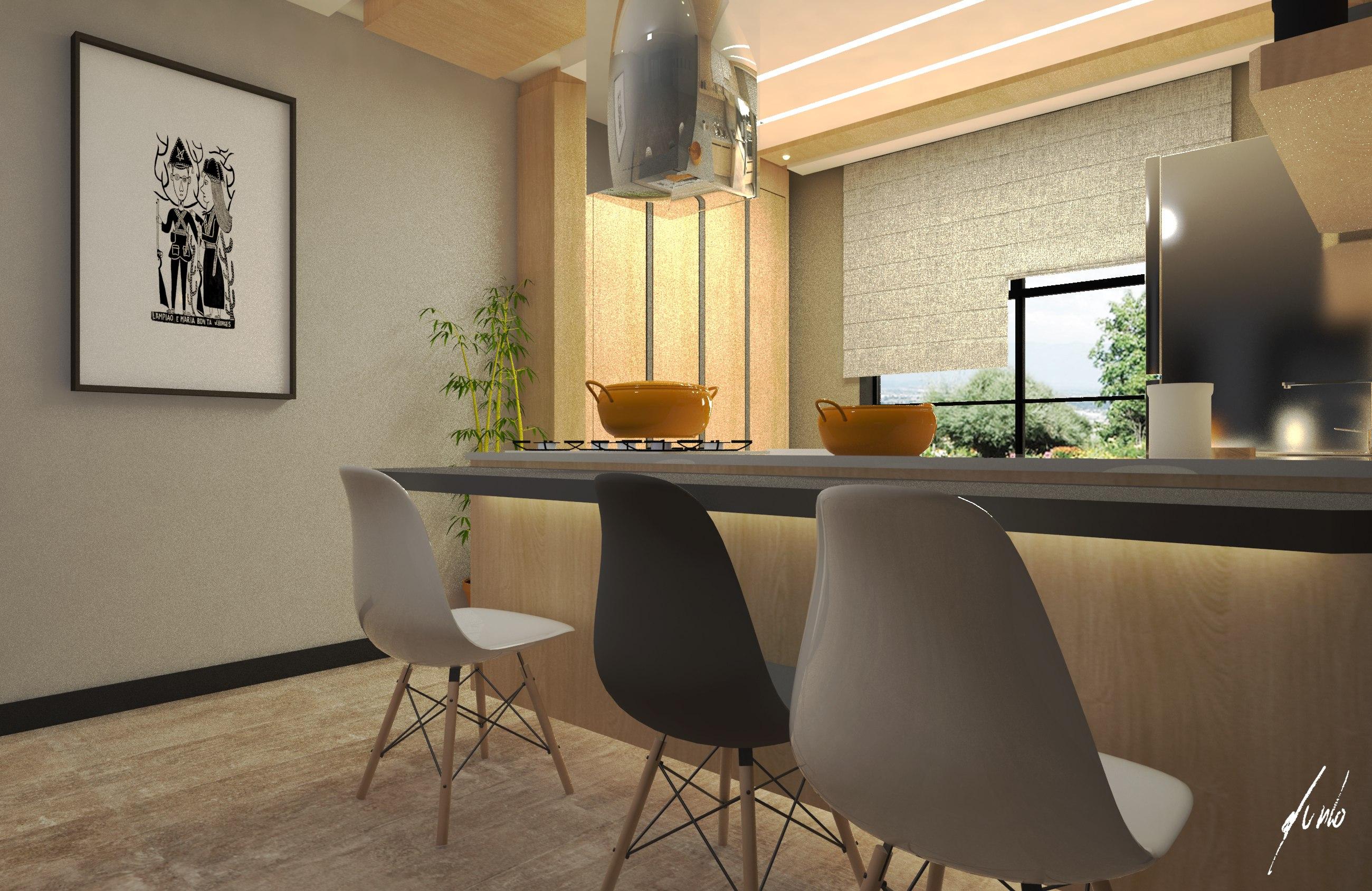 Cozinha moderna, minimalista, com ilha, em cinza e madeirados de tons quentes - Projeto de design por Murilo Zadulski - Designer de interiores em curitiba - img0106