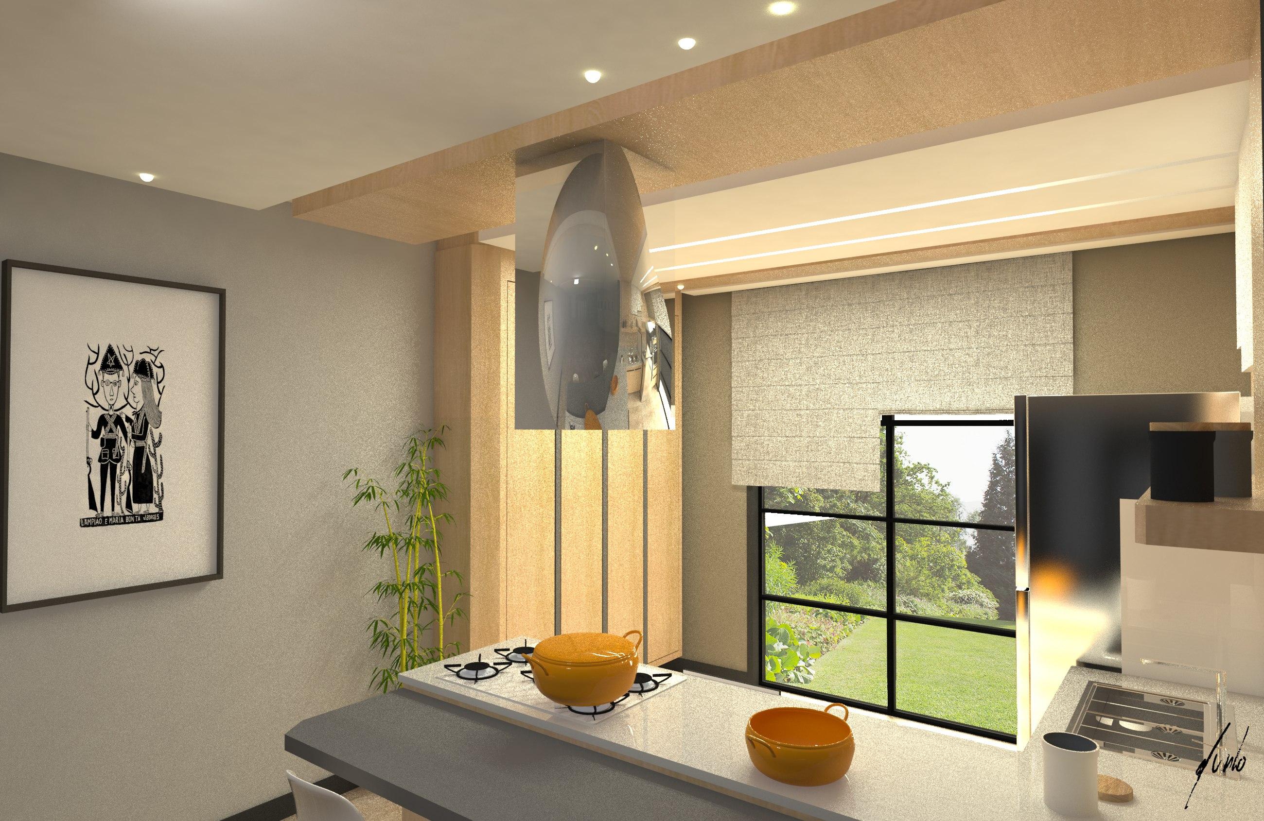 Cozinha moderna, minimalista, com ilha, em cinza e madeirados de tons quentes - Projeto de design por Murilo Zadulski - Designer de interiores em curitiba - img0107
