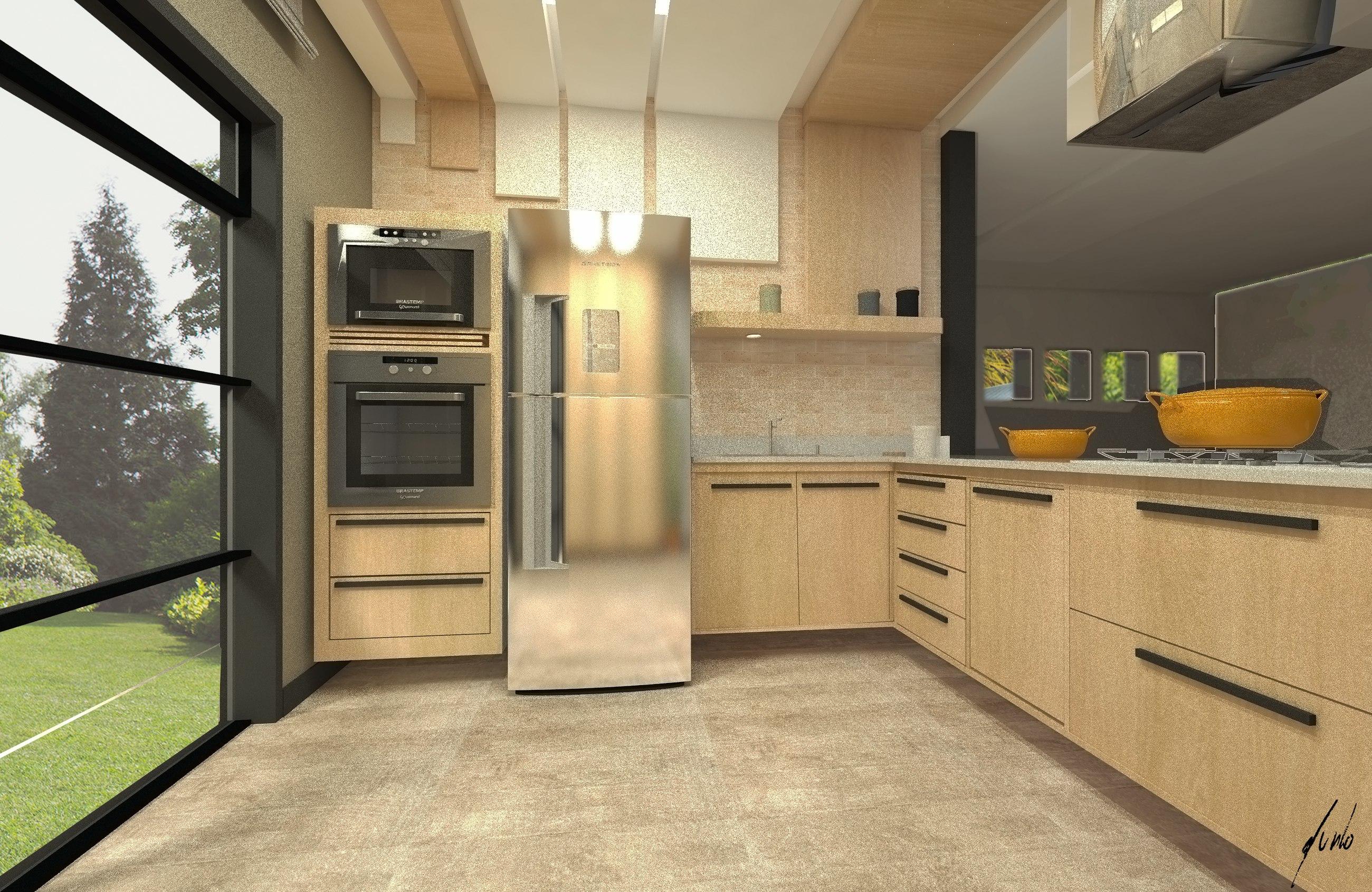 Design de interiores quanto custa um projeto? -Cozinha moderna, minimalista, com ilha, em cinza e madeirados de tons quentes - Projeto de design por Murilo Zadulski - Designer de interiores em curitiba - img0110