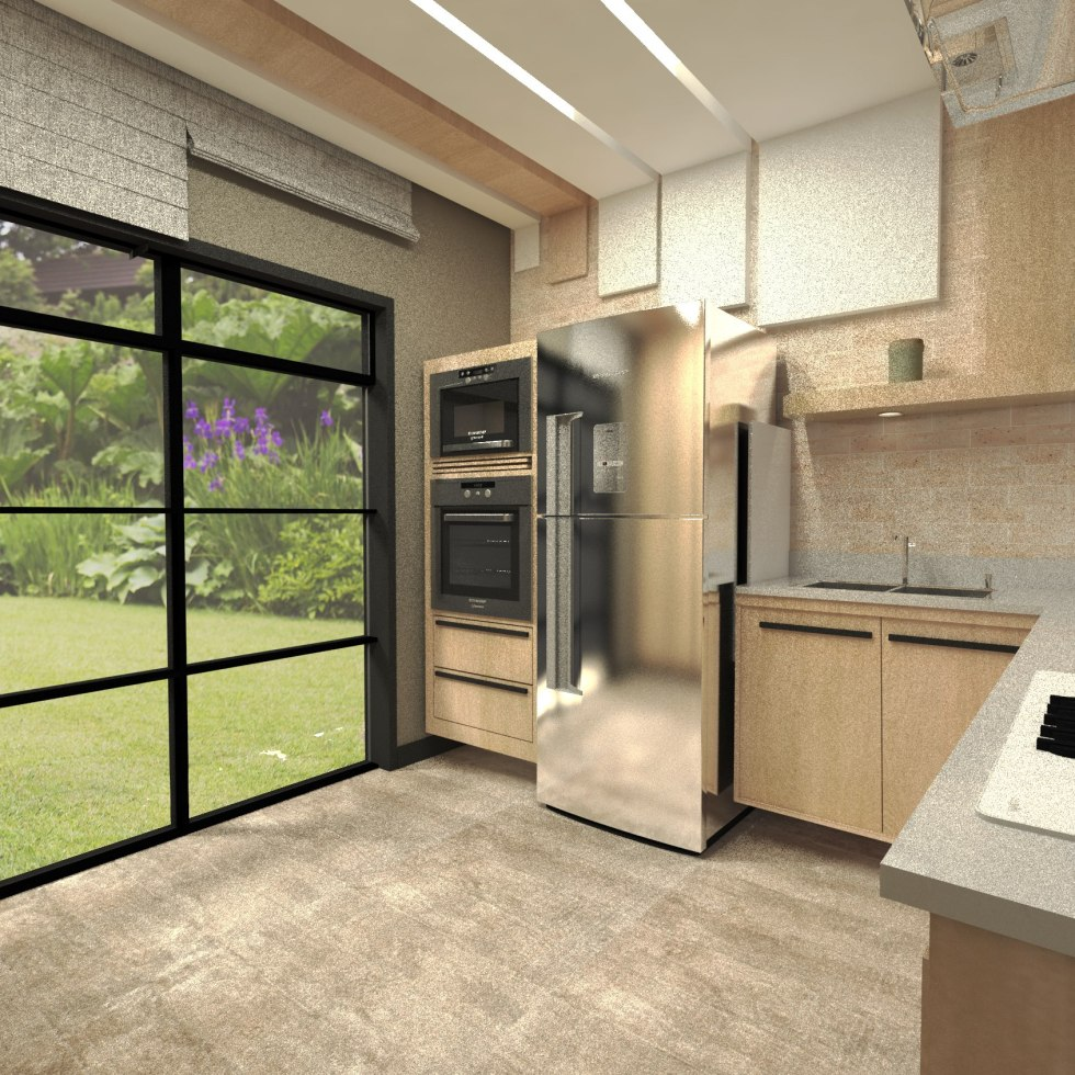 Design de interiores quanto custa um projeto?-Cozinha moderna, minimalista, com ilha, em cinza e madeirados de tons quentes - Projeto de design por Murilo Zadulski - Designer de interiores em curitiba - img0111