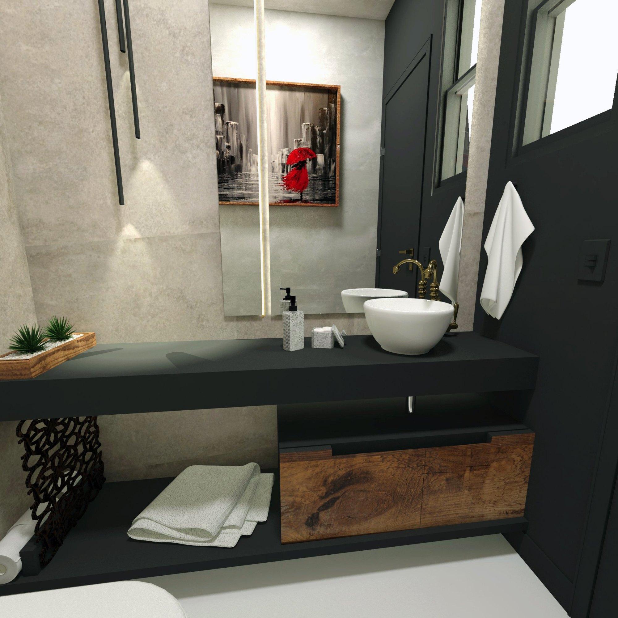 Lavabo moderno - linhas retas, pretos e cinzas para bela casa em Pinhais-pr- Projeto de design e decoração por Murilo Zadulski Designer de interiores em Curitiba-img01