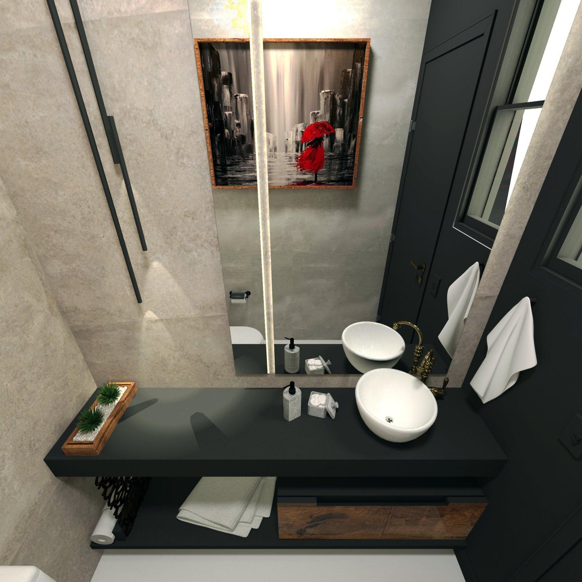 lavabo moderno preto cimento ideias
