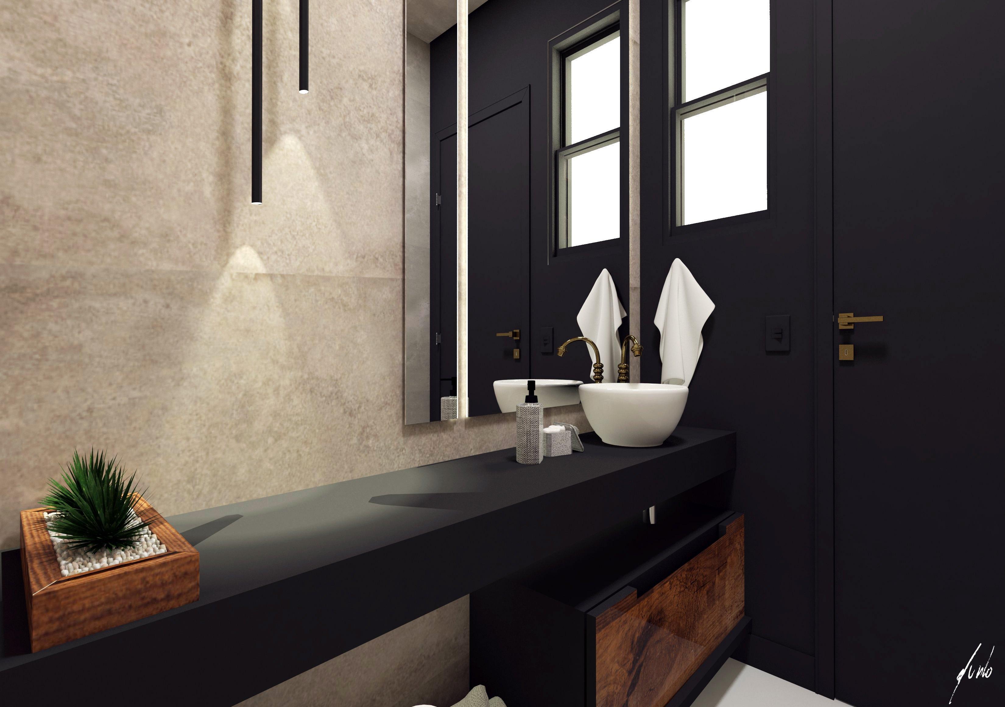 Lavabo moderno preto cimento ideias - Design e decoração de interiores em Curitiba - projeto lavabo