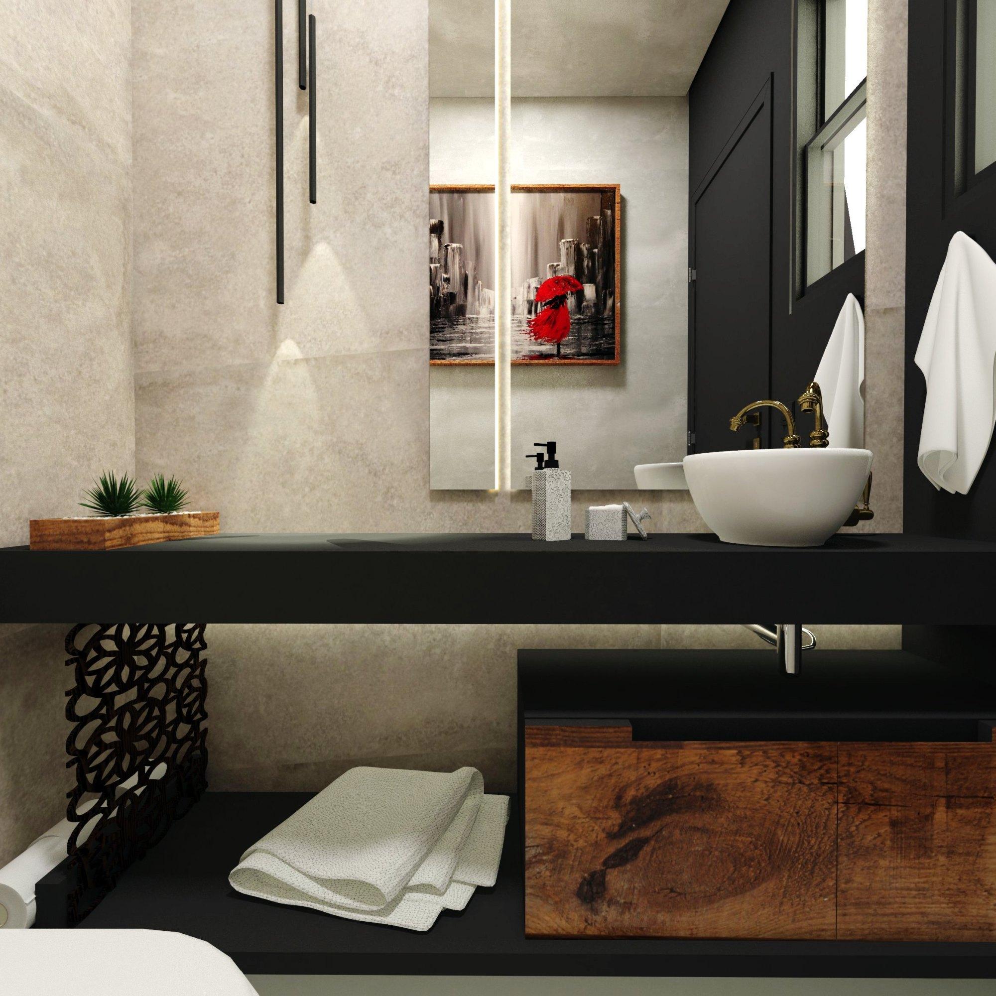 Lavabo moderno preto e cimento - Design e decoração de interiores em Curitiba - projeto lavabo