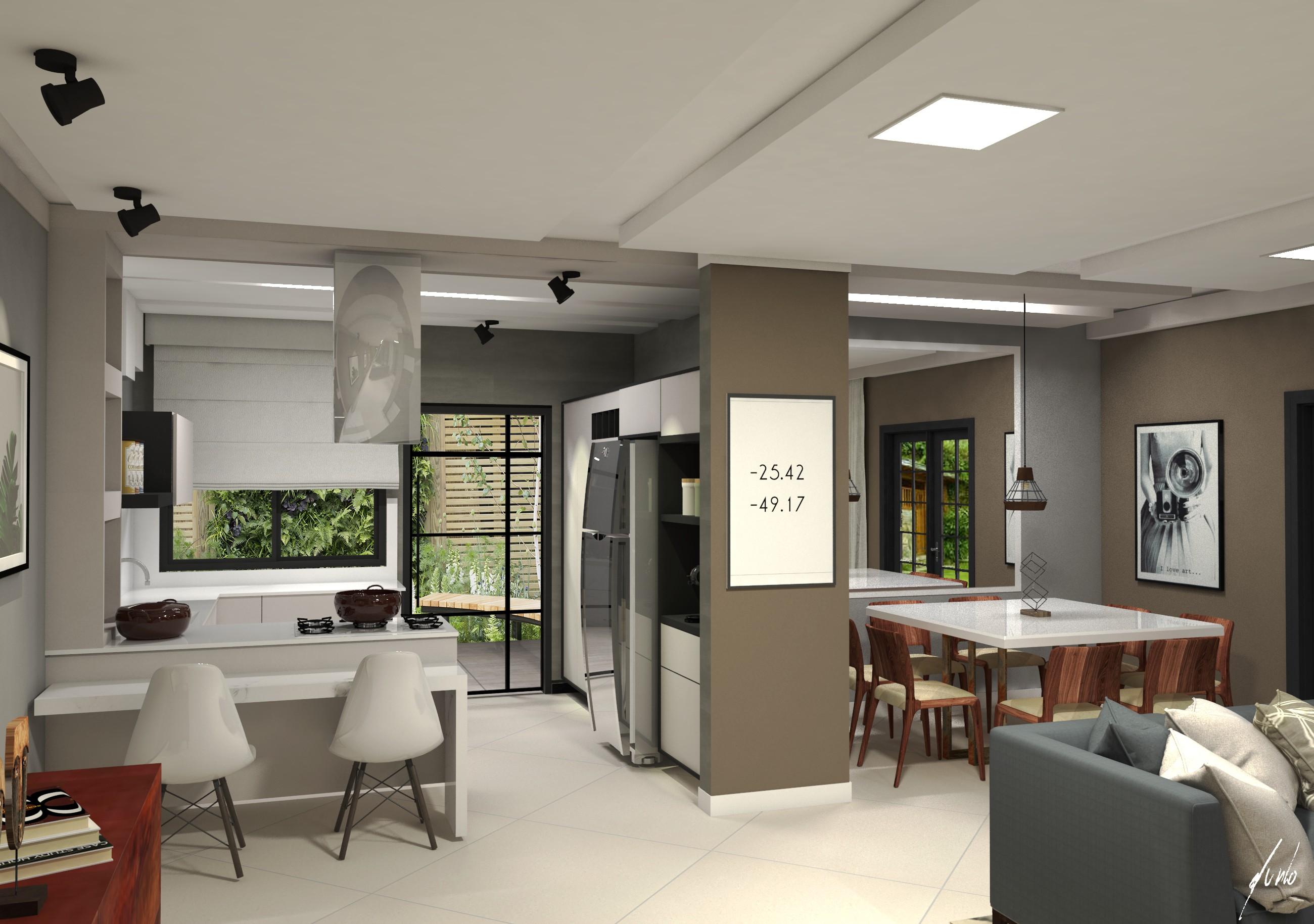 Salas integradas est dio murilo zadulski interiores - Interiores de casas pequenas ...