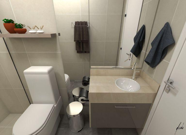 Projeto de banheiro social moderno para casa de 150 metros em Pinhais pr - Projeto e imagens por Estúdio Murilo Zadulski interiores img0102