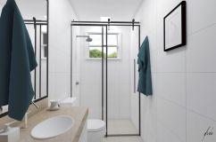 Banheiro Minimalista, clean - Projeto de design por estúdio Murilo Zadulski Interiores -