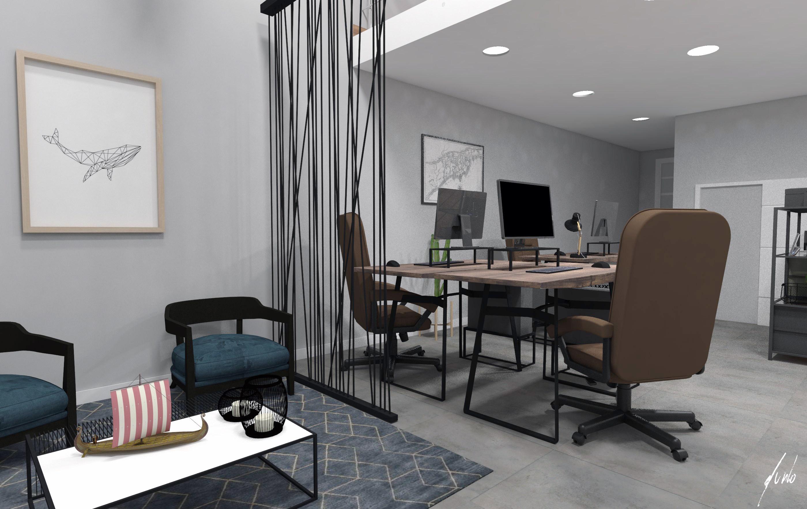 Projeto de design e decoracao para escritorio um escritorio muito moderno em paranagua - madeiras, ferro preto, plantas, cimento queimado, quadros - escritorios modernos 010