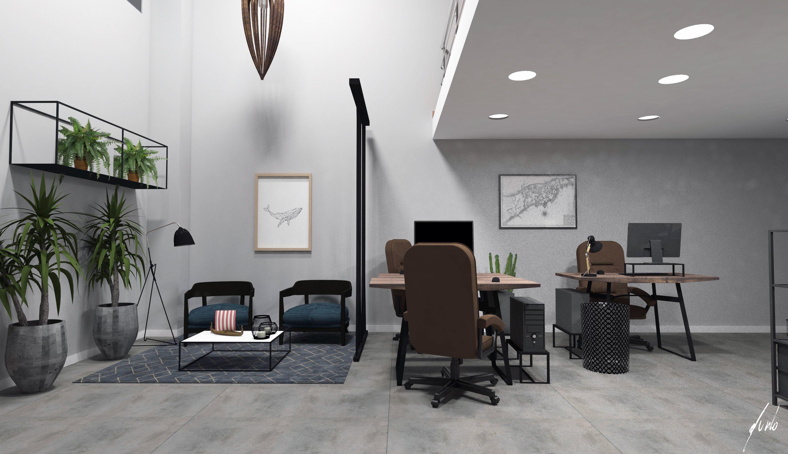 Projeto de design e decoracao para escritorio um escritorio muito moderno em paranagua - madeiras, ferro preto, plantas, cimento queimado, quadros - escritorios modernos 050