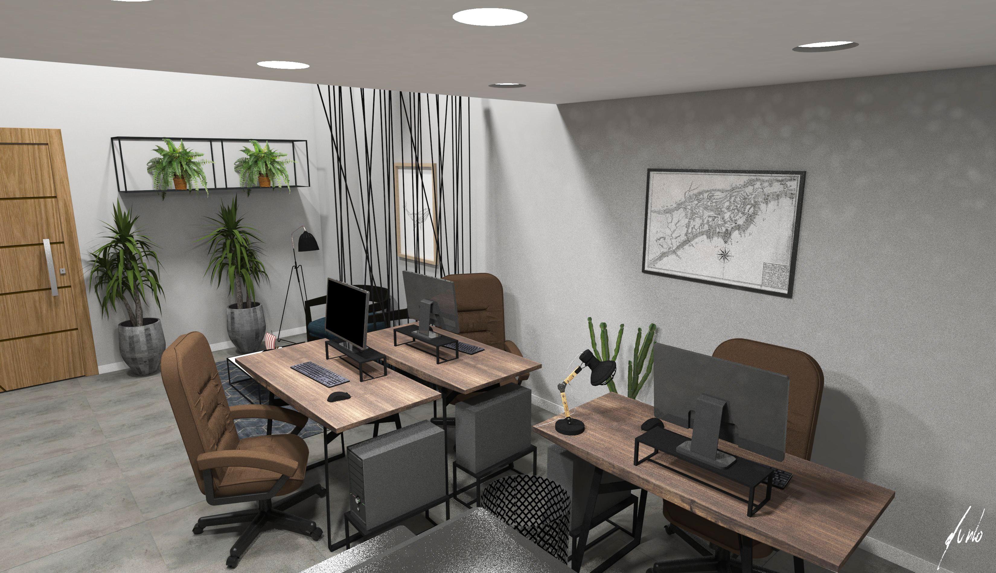 Modelos de escritorios modernos, projetos de escritorio moderno, escritorio industrial escritório com cimento queimado