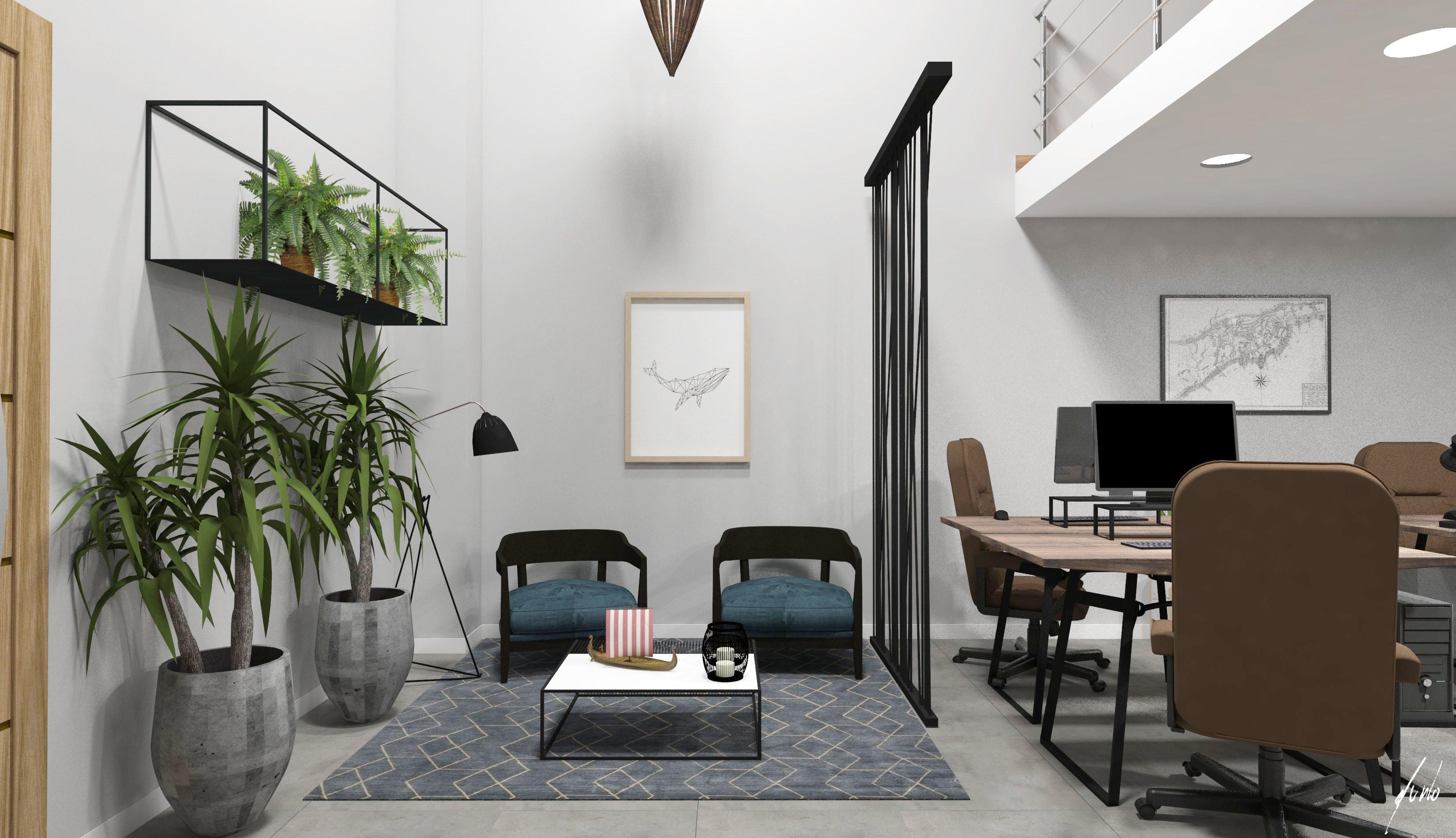 Projeto de design e decoracao para escritorio um escritorio muito moderno em paranagua - madeiras, ferro preto, plantas, cimento queimado, quadros - escritorios modernos 05