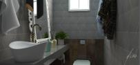 Modelo de lavabo moderno - Projeto por Estudio Murilo Zadulski interiores - Lavabo decorado, lavabo azul, lavabo cinza. 01