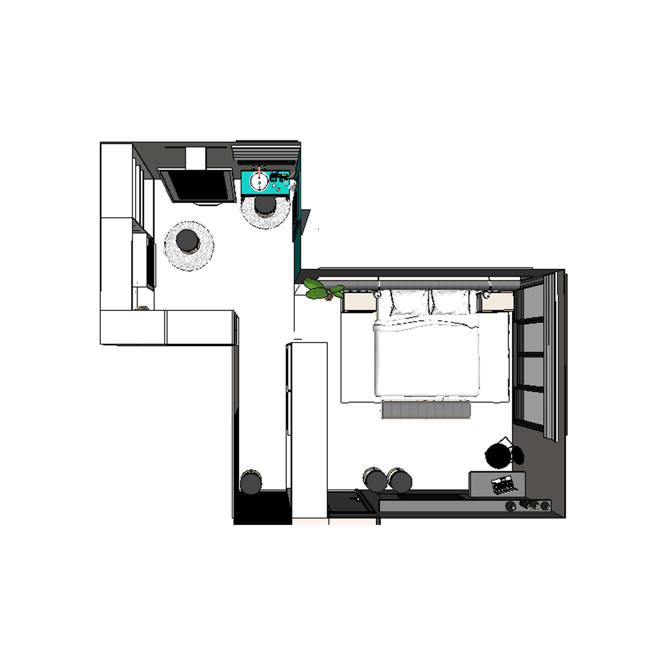 projeto de suite moderna - estudio Murilo Zadulski interiores