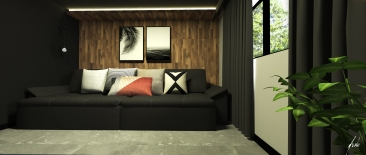 Projeto Bragi Home Theater - sala de tv moderna - projeto de design de interiores em curitiba -Imagem 01