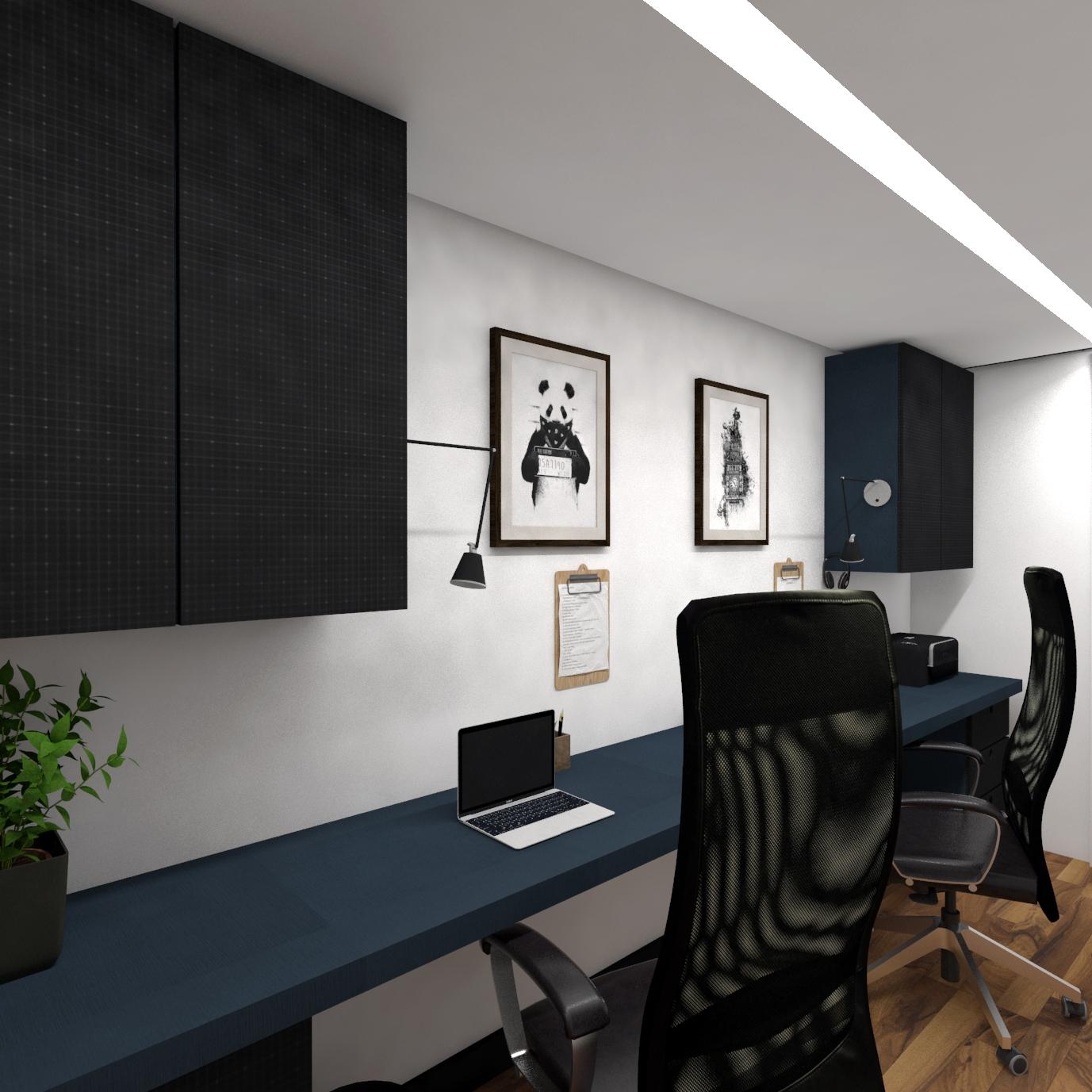 Projeto de home office moderno - escritorio moderno - projeto para casa moderna em curitiba - estudio murilo zadulski interiores 01 02